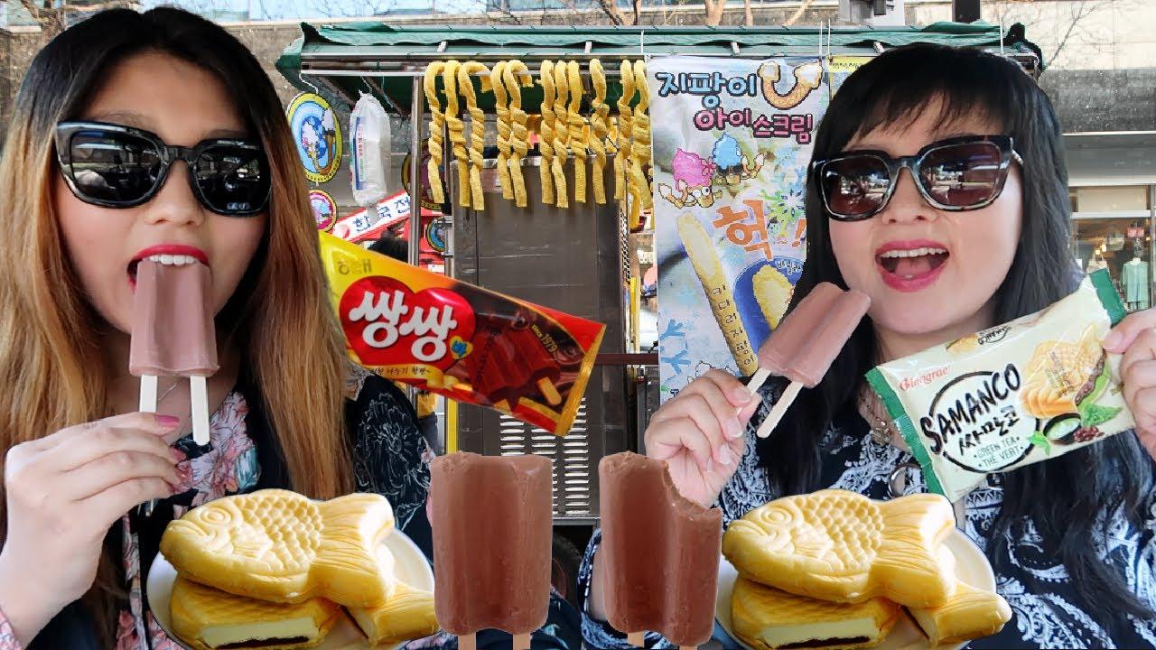 TRYING KOREAN ICE CREAM (CHOCOLATE FUDGE ICE BAR, GREEN TEA SAMANCO FISH ICE CREAM) EATING SHOW