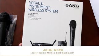 AKG® Sistema Micrófono Inalámbrico Doble WSM40 PRO MINI2 Set: Micrófono Vocal Mano, Bodypack, Instrumentos video