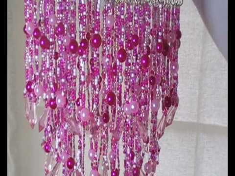 Multi beaded pink chandelier light lamp shade youtube aloadofball Choice Image