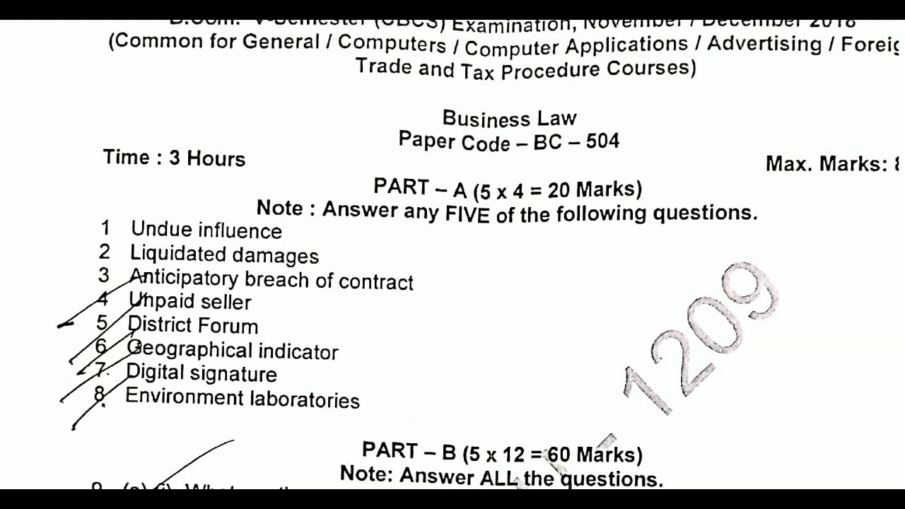 Business law essay questions