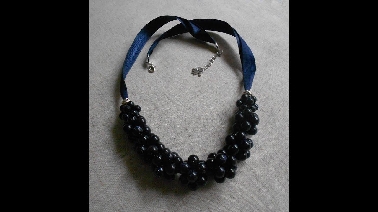 Как сделать ожерелье из бусин и лент. Мастер-класс