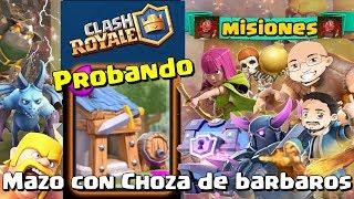 Clash Royale. Mazo con Choza de bárbaros. Doble victoria 1c1. Gameplay en español