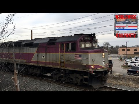MBTA Trains At Speed On The Needham Line!