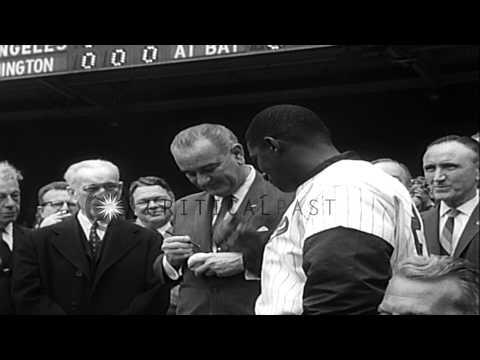 President Johnson arrives for a baseball match between the Washington Senators an...HD Stock Footage