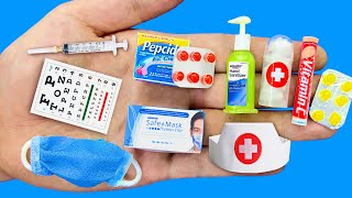 20 DIY MINIATURE HACKS ~ MINIATURE ITEMS for DOCTOR ~Face mask,Needle,Medicine,Stethoscope and More!