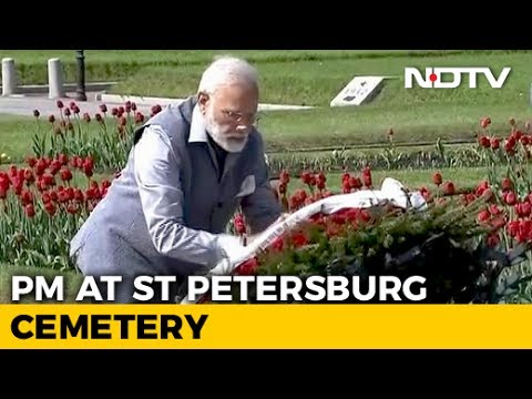 PM Narendra Modi Pays Tributes To World War II Victims In St Petersburg