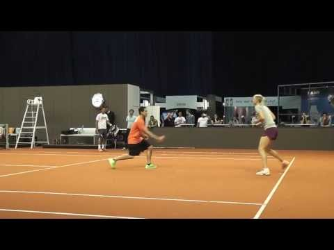 Maria Sharapova warming up + training session @ Porsche Tennis Grand Prix 2013
