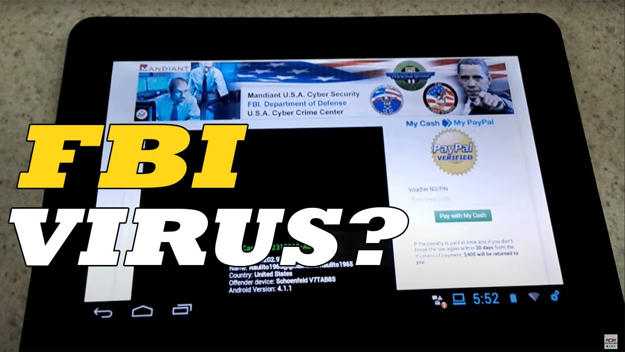 FBI Virus - Malware on an Android tablet - First but not the last