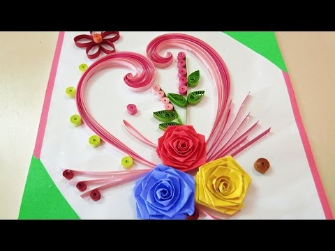 paper-quilling-|-how-to-make-beautiful-rose-flower-design-greeting-card-|-paper-quilling-art