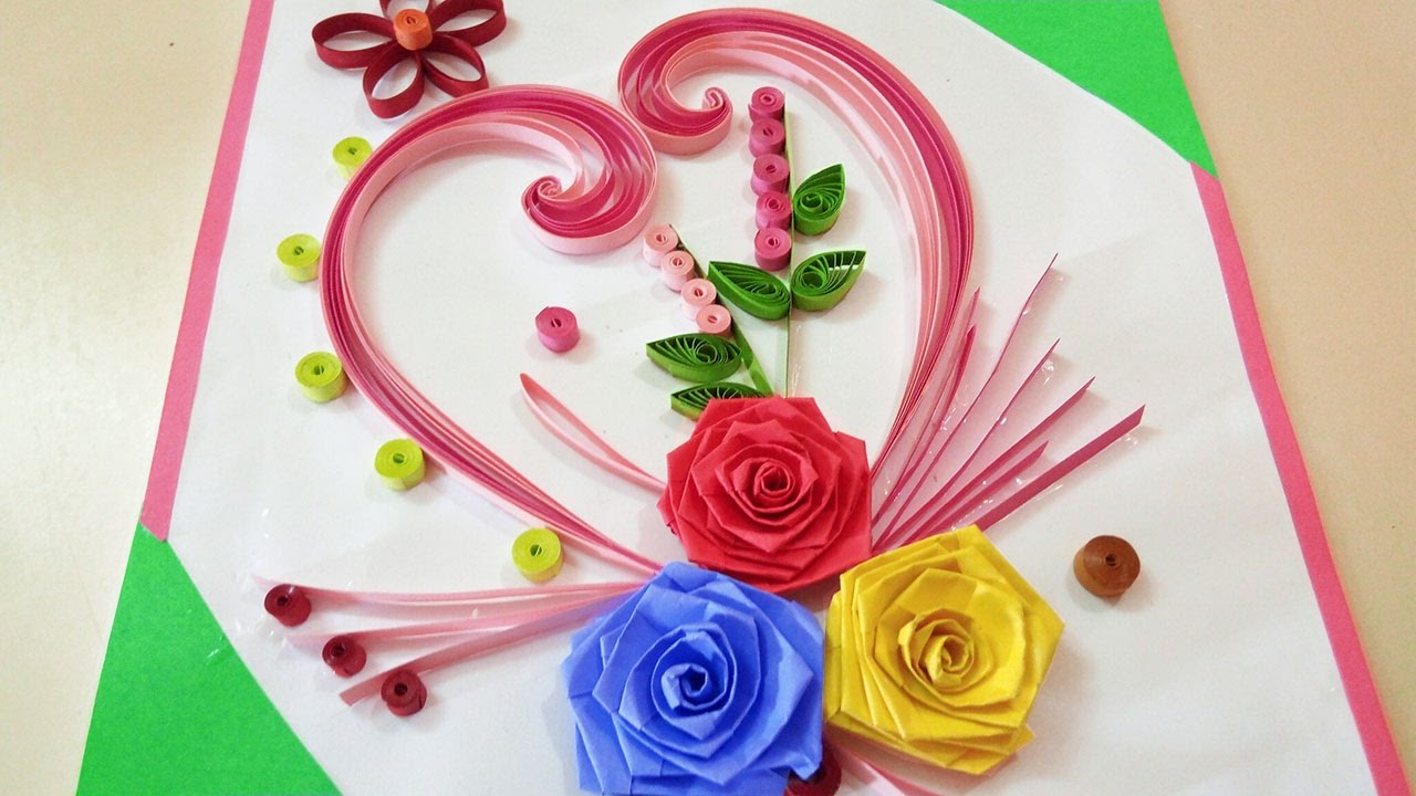 Paper quilling how to make beautiful rose flower design for How to make a paper design