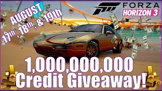 Forza Horizon 3 1,000,000,000 Credit Giveaway!!! August 17th, 18th, & 19th