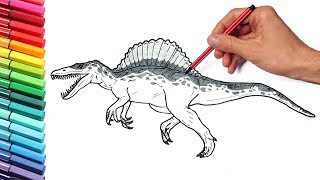 Drawing and Coloring Spinosaur from Jurassic Parck 3 - Dinosaurs Color Pages For Childrens