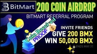 Bitmart airdrop, 200 coin received proof