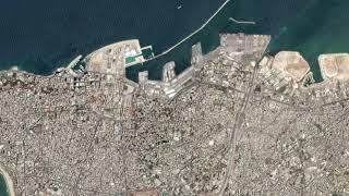 Imágenes satelitales muestran el puerto de Beirut antes y después de la explosión
