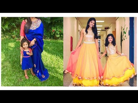 latest-mom-and-daughter-matching-indian-dresses-2017-||-matching-dresses-ideas-||-gng