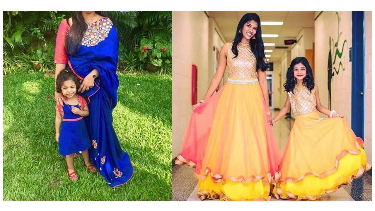 Latest Mom And Daughter Matching Indian Dresses 2017 Matching