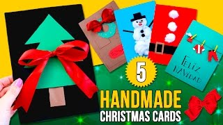 5 DIY CHRISTMAS CARDS for kids🎄 Handmade CARDS for CHRISTMAS.