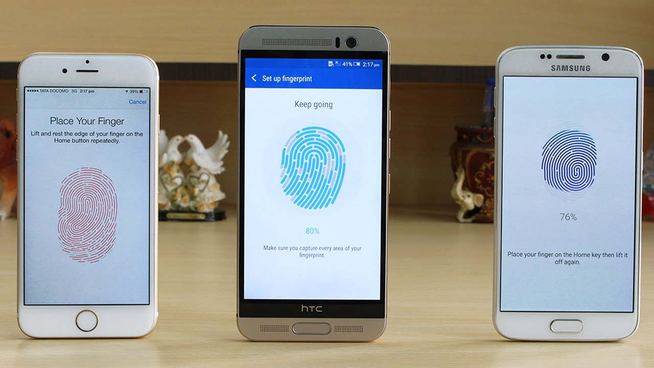 Samsung galaxy note 5 vs htc one m9 plus a comparison - Htc One M9 Plus Vs Galaxy S6 Vs Iphone 6 Fingerprint Scanner Test Youtube