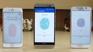 HTC One M9 Plus vs Galaxy S6 vs iPhone 6 Fingerprint Scanner Test