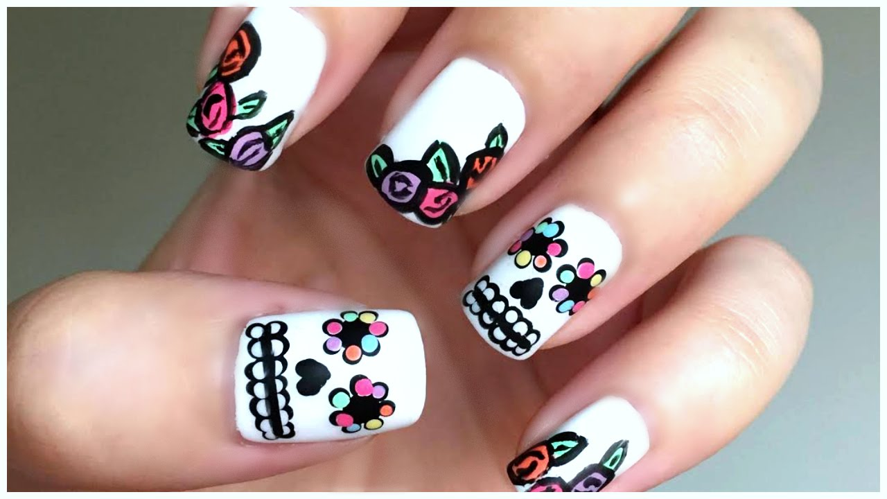Sugar Skull Day Of The Dead Nail Art!!! | MissJenFABULOUS - YouTube