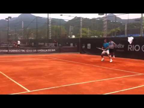 Rafael Nadal practices with Thomaz Bellucci in Rio Open