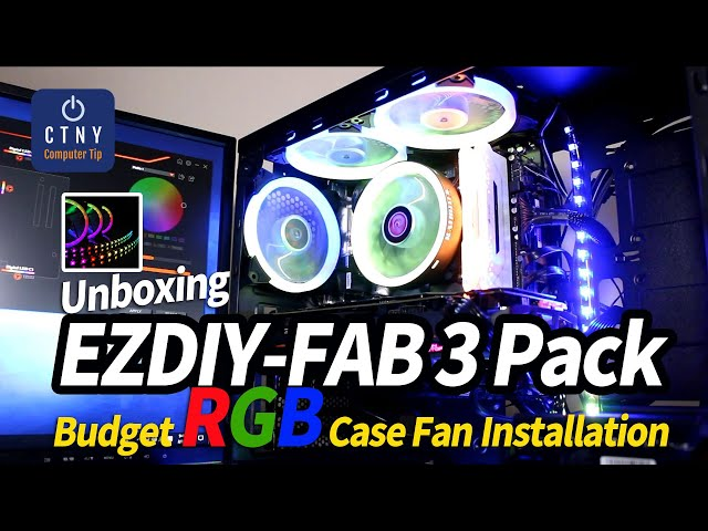 $40 EZDIY-FAB 3-Pack 120mm Addressable RGB Fan with 2LED Strips Installation Video