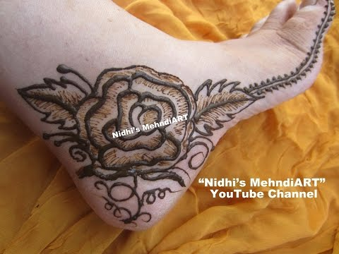 Pretty Rose Flower Feet Henna Mehndi Design Tutorial Youtube