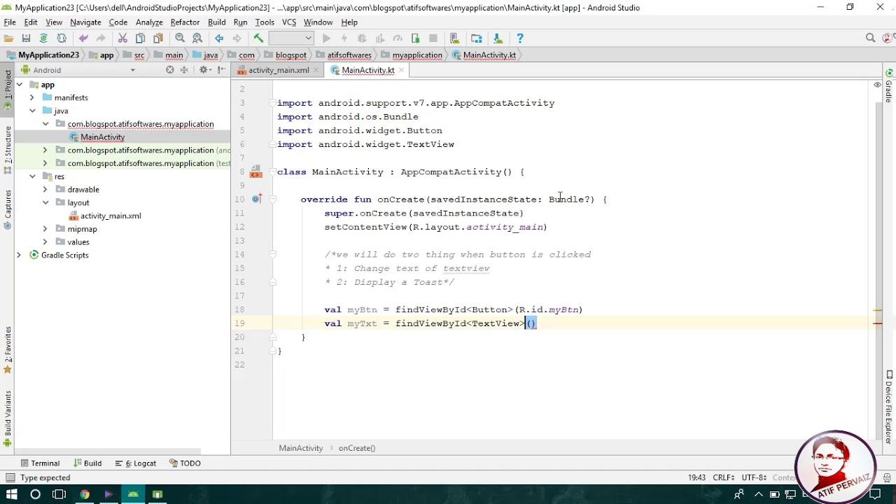 Button Click Event in Kotlin - Android Studio Tutorial