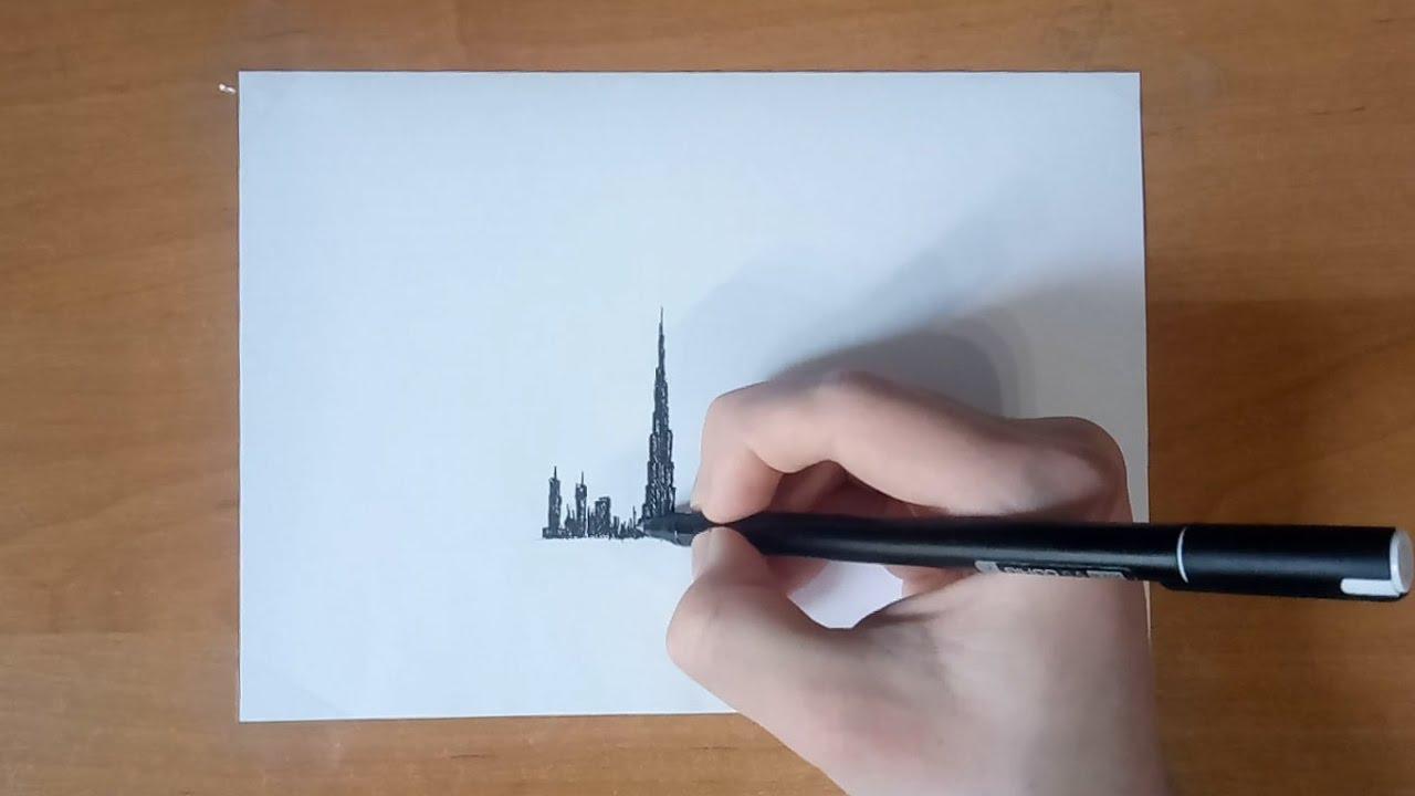 дубай рисунок карандашом