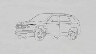 How to draw skoda kodiaq 2017(cars drawing)