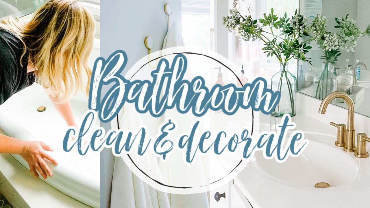 EXTREME CLEAN WITH ME! CLEAN + DECORATE WITH ME // MINI BATHROOM MAKEOVER