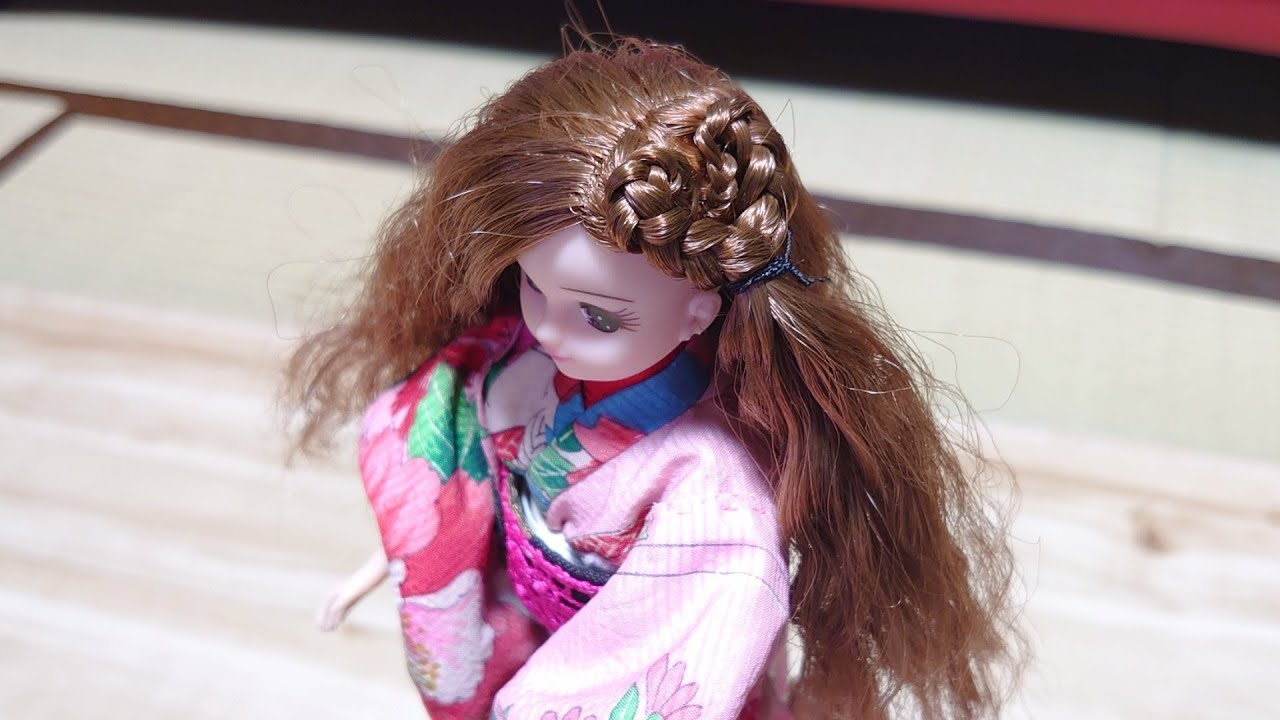 娘のリカちゃんをハートコーンロウ Cornrows Heart on doll hair