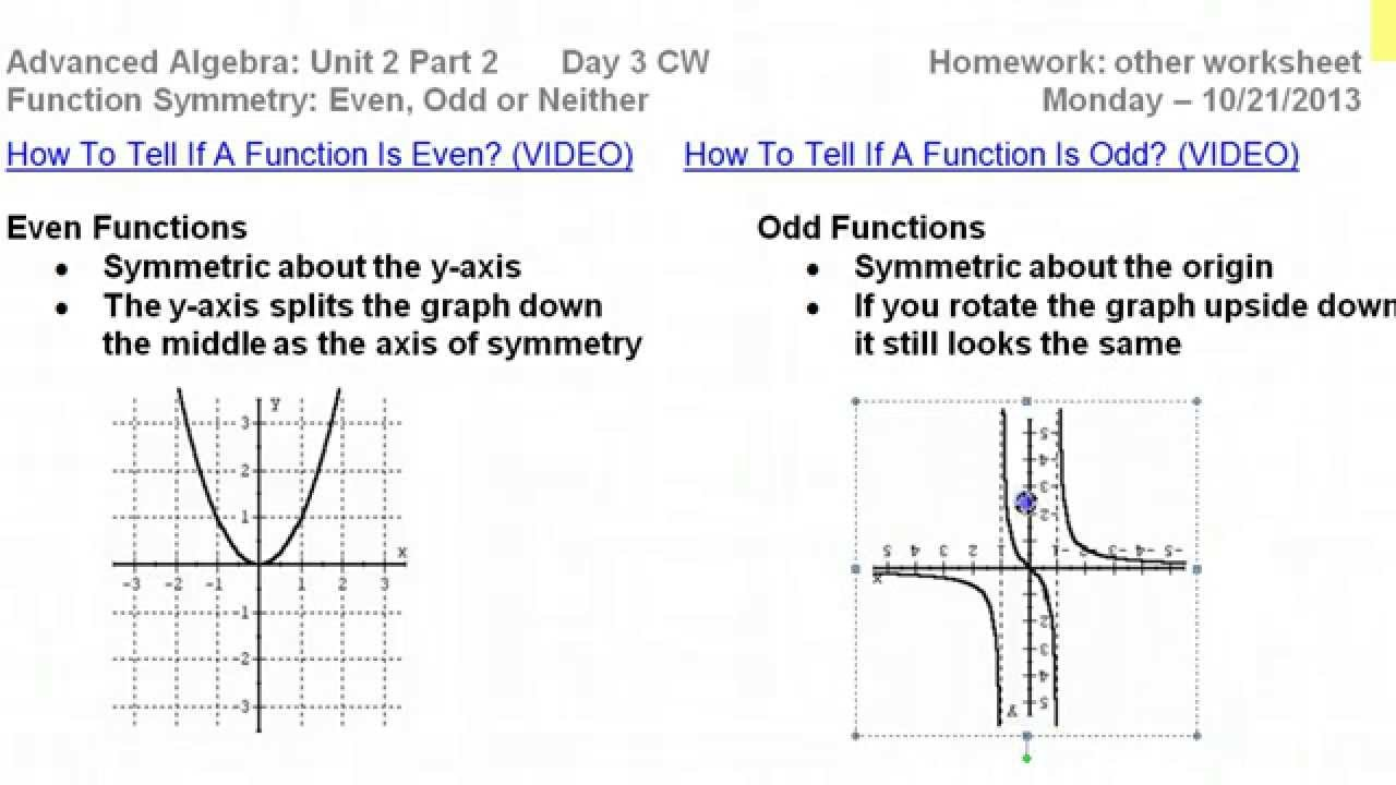 worksheet Even And Odd Functions Worksheet day 3 hw 1 to 6 prove function symmetry even odd or neither algebraically