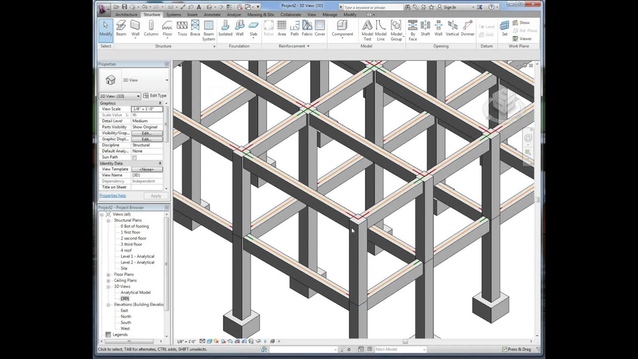Structural Concrete Systems : Revit autodesk video concrete building frame layout