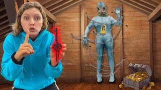 Locked Up Pond Monster Trapped in Attic for 24 Hours (Found Key to Treasure Chest of GOLD!!)