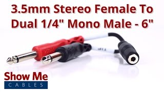 3.5mm Stereo Female To Dual 1/4