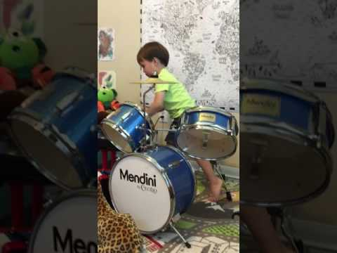 3-year old goes nuts on best kids drum set