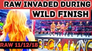 WWE RAW 11/12/18: WILD Finish To RAW As Becky & The Smackdown Roster Invade! Rousey Gets Taken Out!