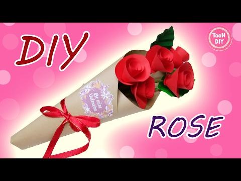 ช่อดอกกุหลาบกระดาษ ช่อดอกไม้ ของขวัญวันวาเลนไทน์ EP3 Paper Rose --TooNDIY