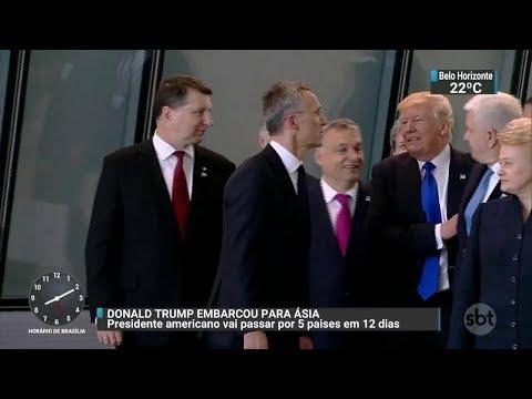 Presidente Donald Trump embarca para a Ásia | SBT Brasil (03/11/17)
