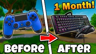 1 MONTH on KEYBOARD & MOUSE Fortnite! Controller to PC 1 Month Progression! (Fortnite Battle Royale)