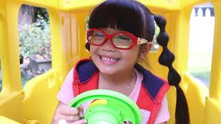 Wheels on the Bus Nursery Rhyme Song with Hana