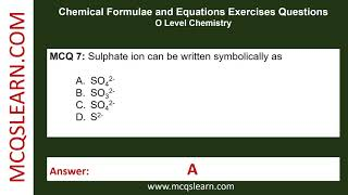 Chemical Formulae and Equations Exercises Questions - MCQsLearn Free Videos