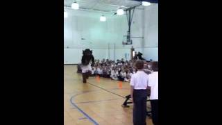 Rumble dunks at Monte Cassino School in Tulsa