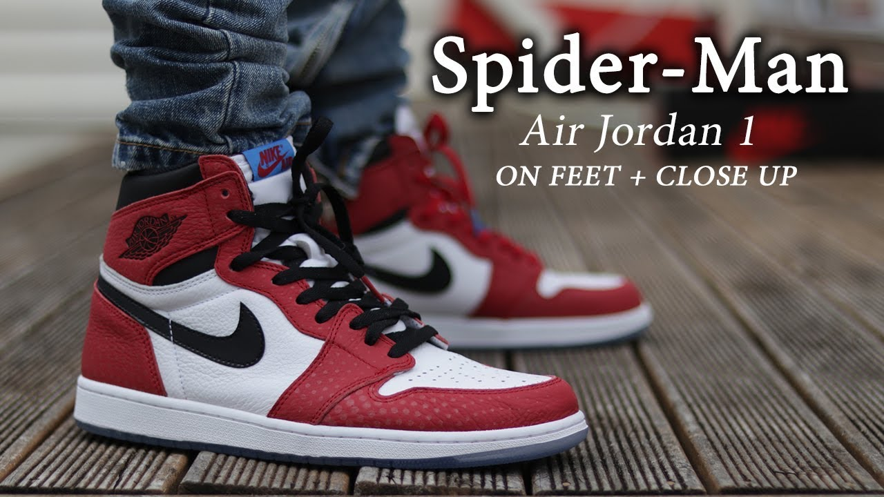 incredible prices cheapest price on wholesale Air Jordan 1 OG 'Spider-man Origin' Close Up & ON-FEET with ...