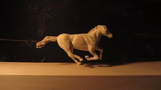Wood Carving Horse in Motion (stop motion)