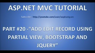 Deel 20 - Toevoegen Record wijzigen op basis van Gedeeltelijke Weergave , JQuery en bootstrap popup(Modaal) in ASP.NET MVC