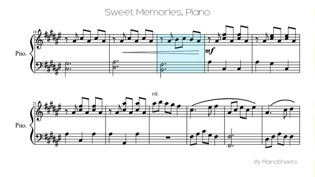 Sweet Memories Piano Solo Youtube