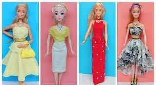 """""""KO MAY KO KEO"""" DIY Cách làm 4 bộ váy dự tiệc cho búp bê ko cần may vá Ami DIY"""