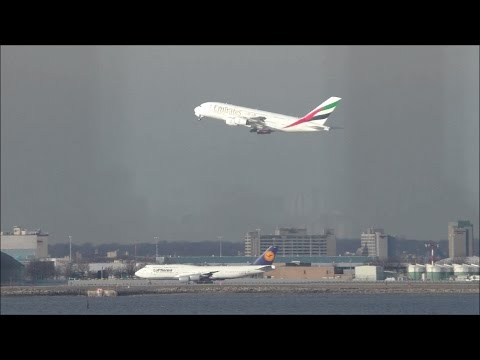 Watching Airbus A380 & Boeing 747 Jumbo Jets Take Off From JFK Airport @ Broad Channel (HD 60FPS)